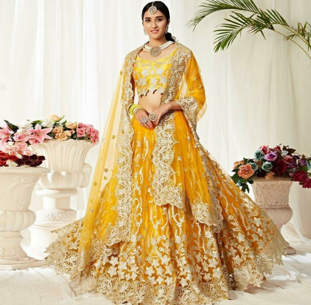 Flamboyant Yellow Colour Festival Wear Lehenga Choli