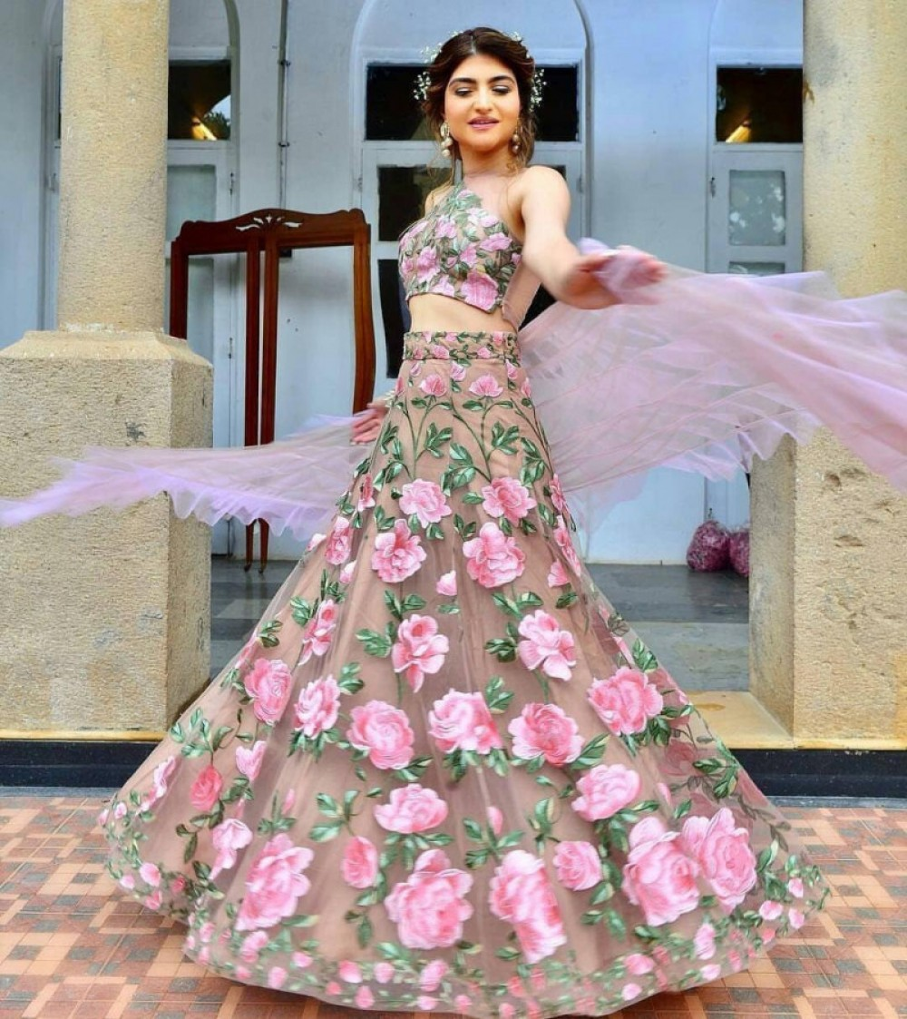 Flattering Bridal Wear Light Pink Lehenga Choli For Casual Wear