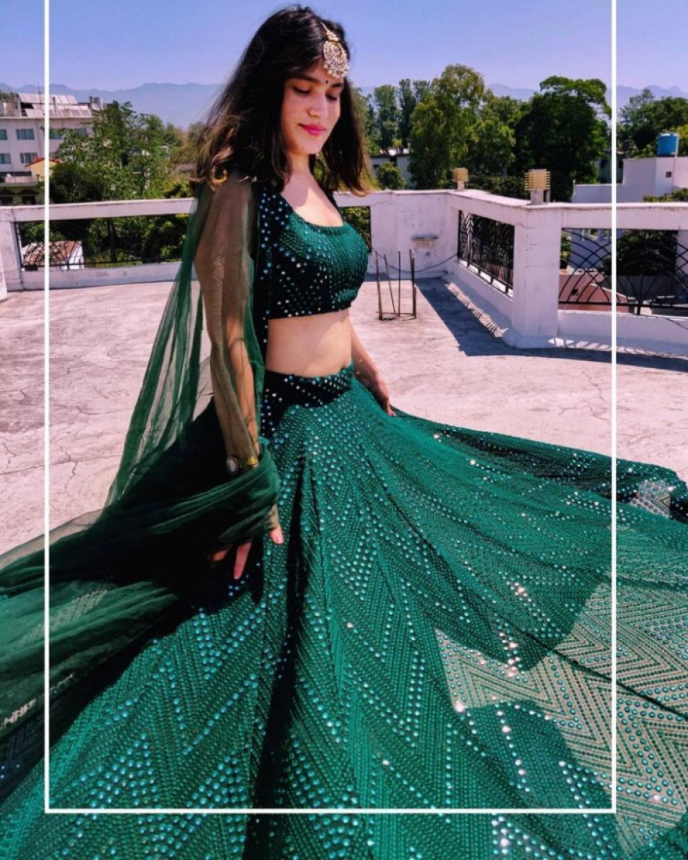 Hypnotic Green Sequence Worked Lehenga Choli