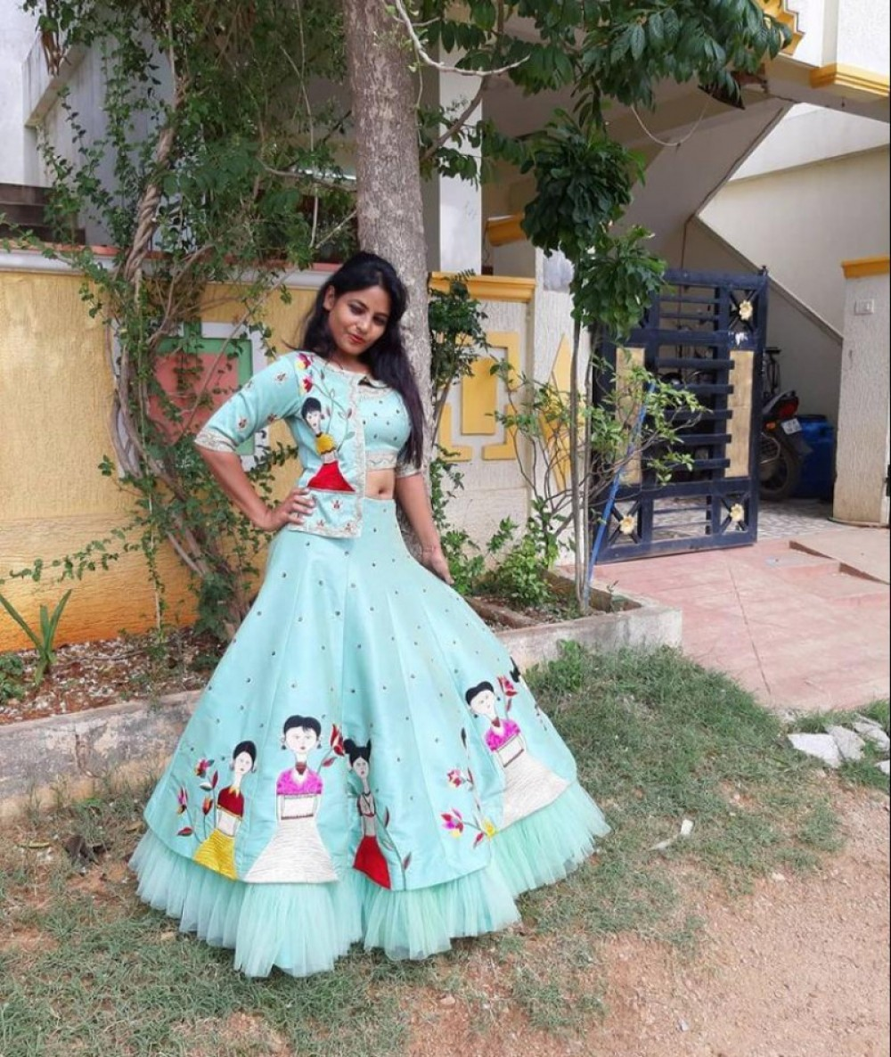 Magnetic Sky Blue Frill Worked Lehenga Choli For Onlion