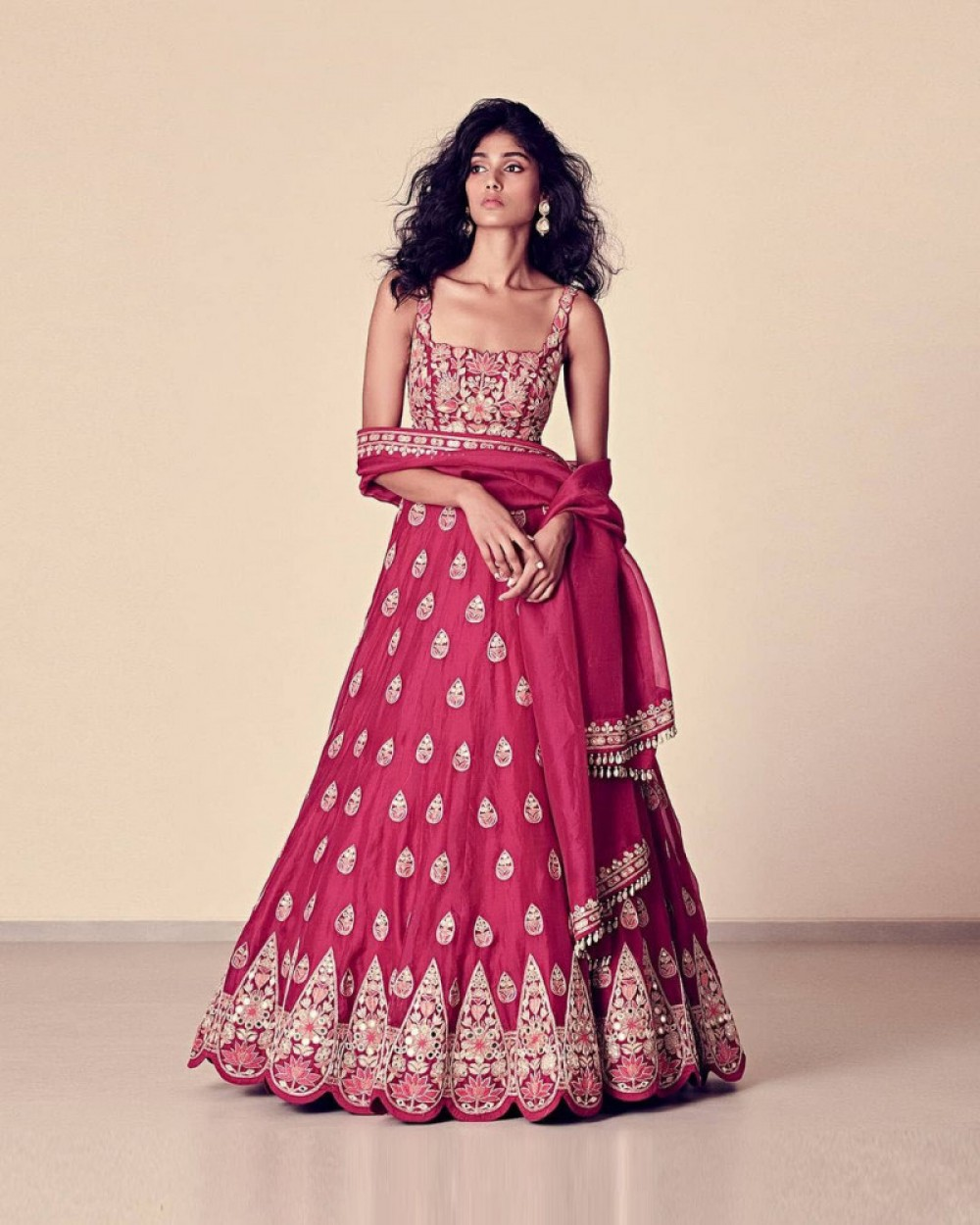 Mind Blowing Red Tafeta Silk Lehenga Choli