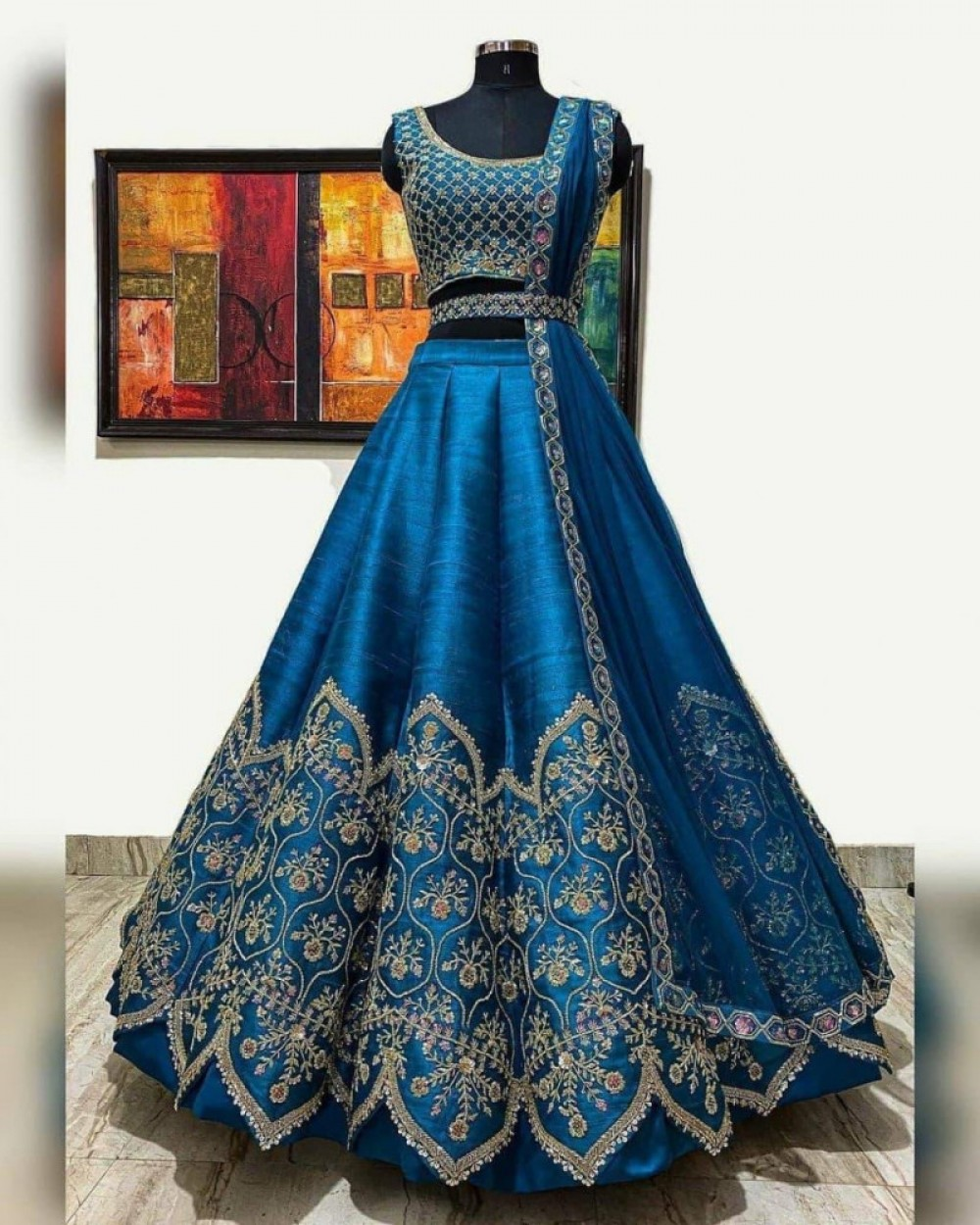 Outstanding Festival Wear Rama Blue Fancy Lehenga Choli