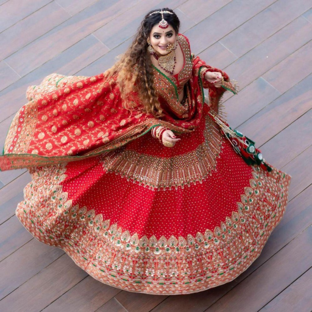 Prominent Desire Red Casual Bridal Lehenga