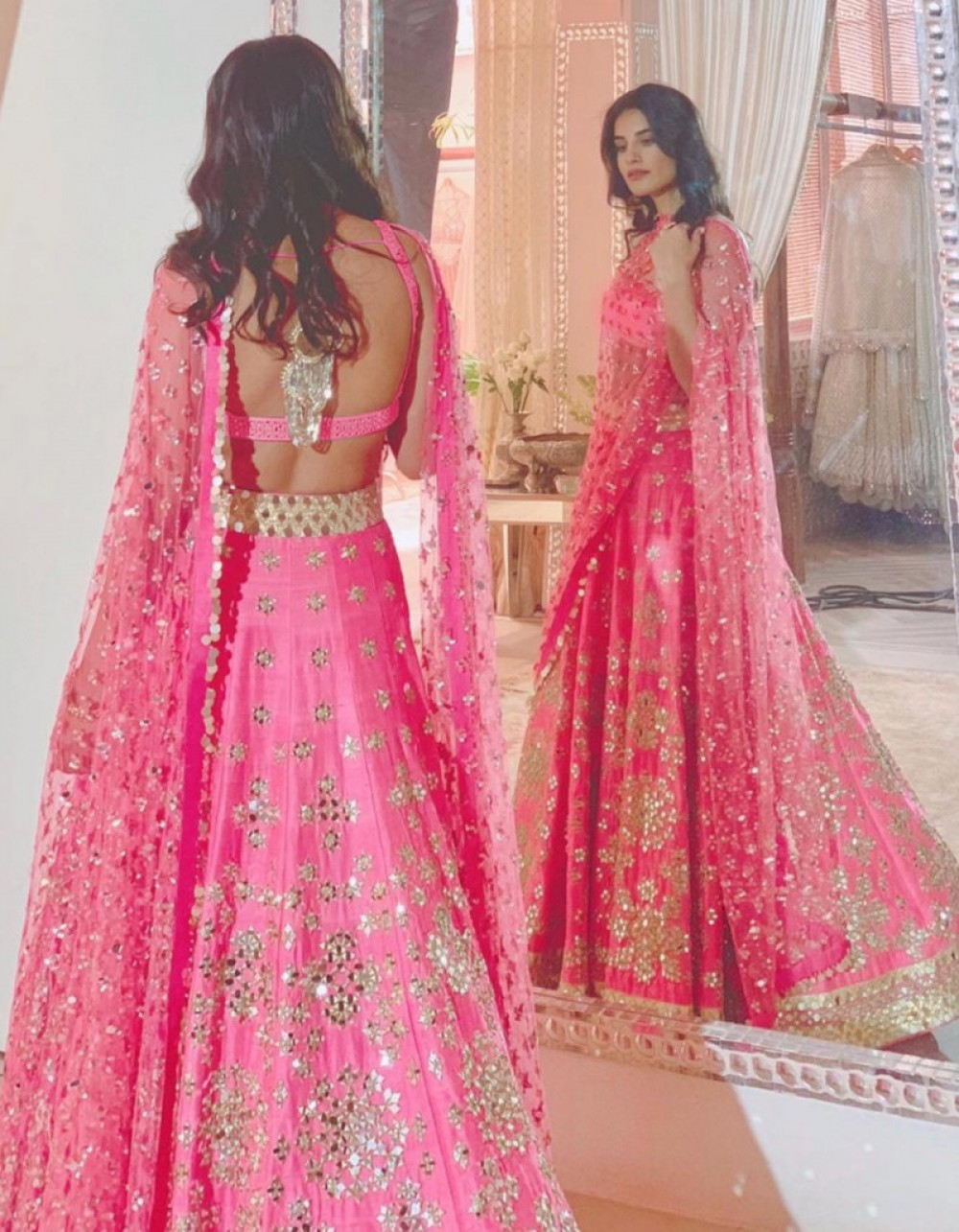 Simple Pink Sequence Worked Bridal Lehenga choli