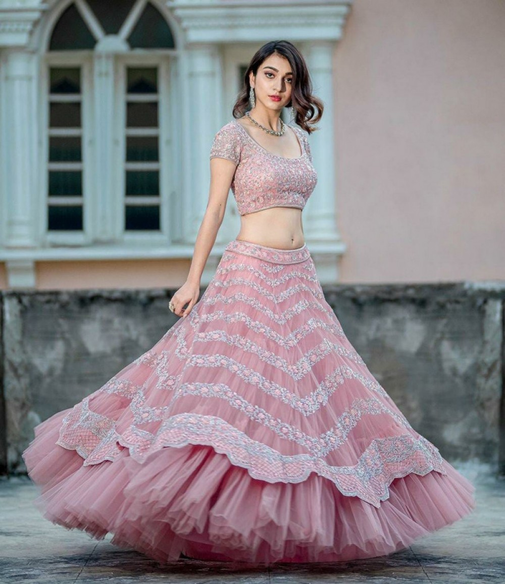 Sophisticated Festival Wear Peach Lehenga Choli