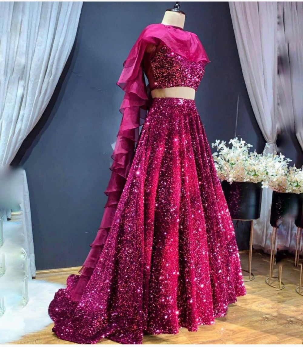 Stunning Pink Colour Sequins Bridal Lehenga Choli