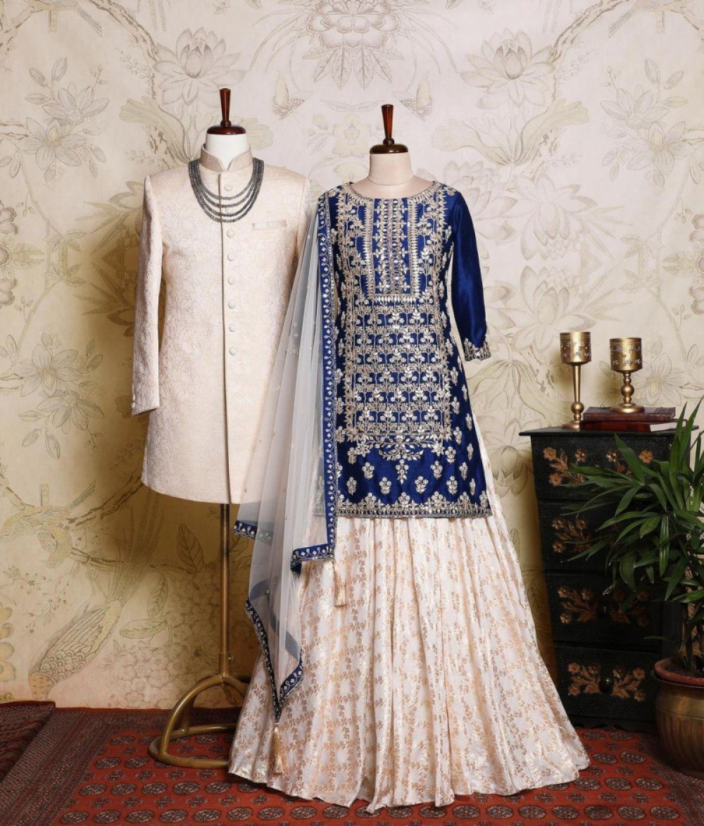 Stylee Lifestyle White Printed Lehenga With Top
