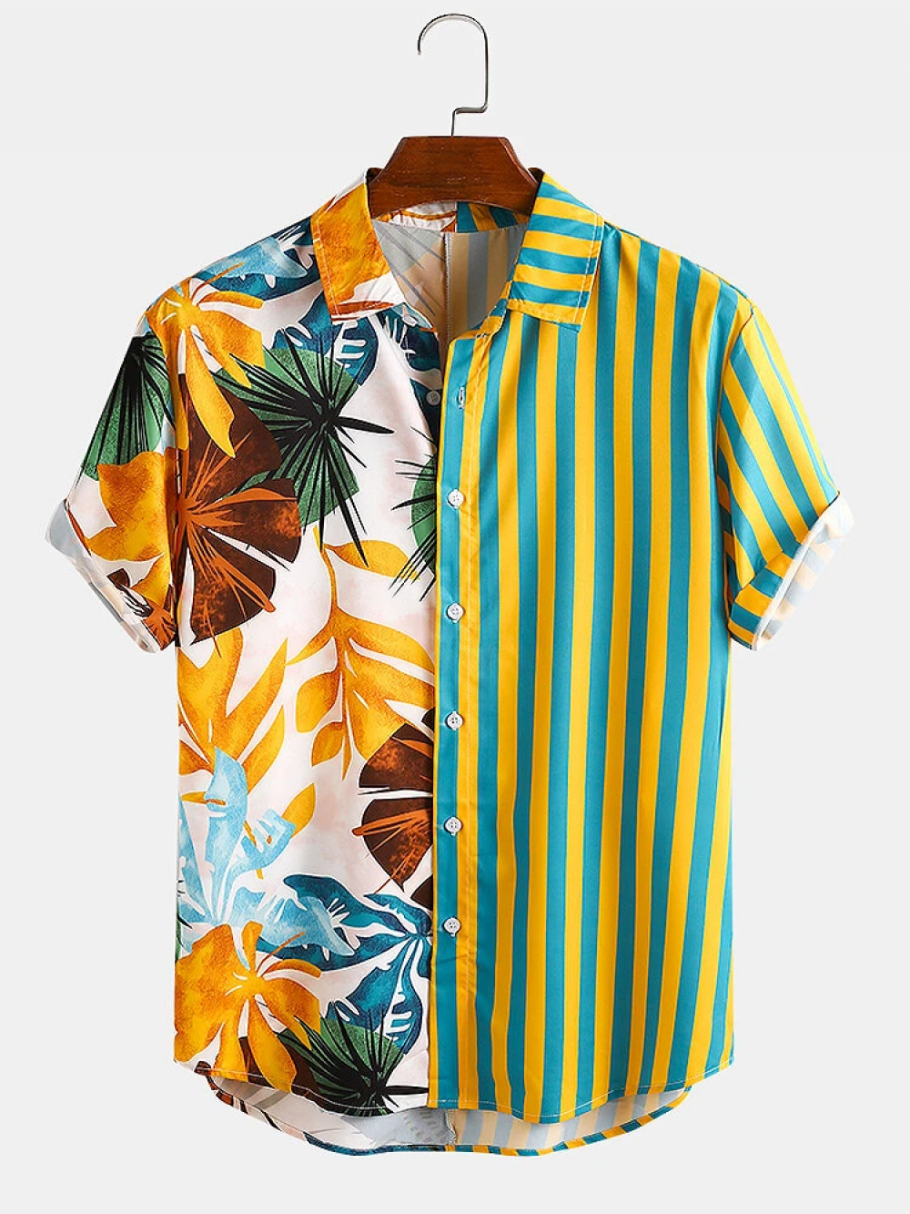 Pretty Multi Color Tropical and Stripe Mixed Look Shirt
