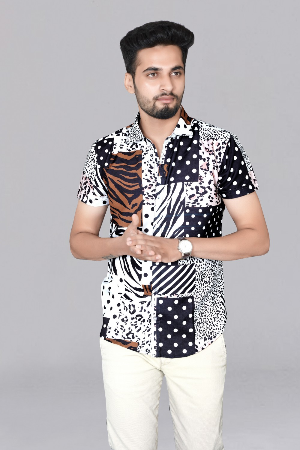Black and White New Designer Lining Printed Rayon fabric Short Sleeve Shirt For Men