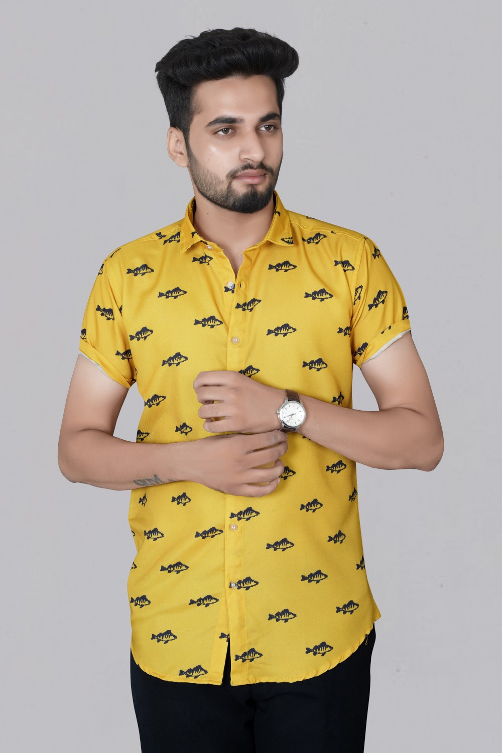 New Collection Yellow Fish Design Printed Rayon short Seeve shirt Shirt For Men