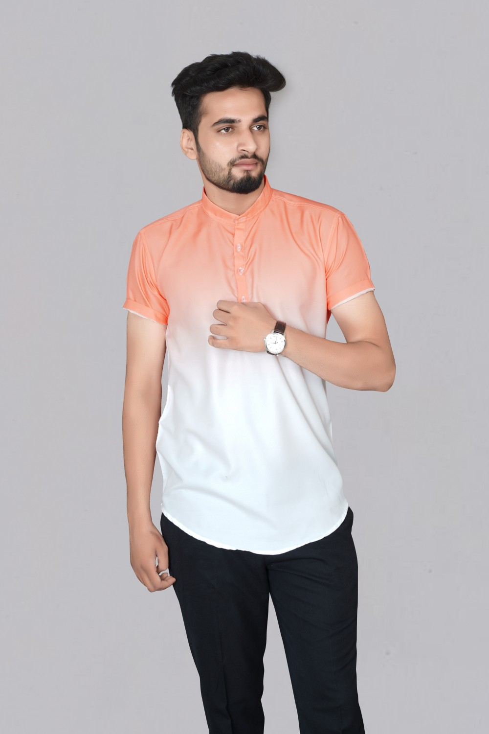 Latest collection Orange Color Printed Rayon Fabric Short Sleeve Shirt For Men