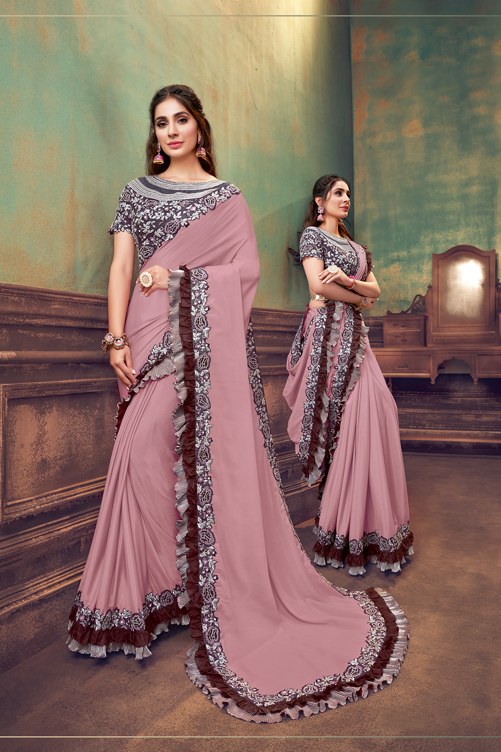 The undeniable charm of soft shades of peach and pink   with the goodness of exquisite machine embroidery and touch of cut-daana hand work is carefully crafted by our designer to make every women who wears this look trendy  stunning and different fro