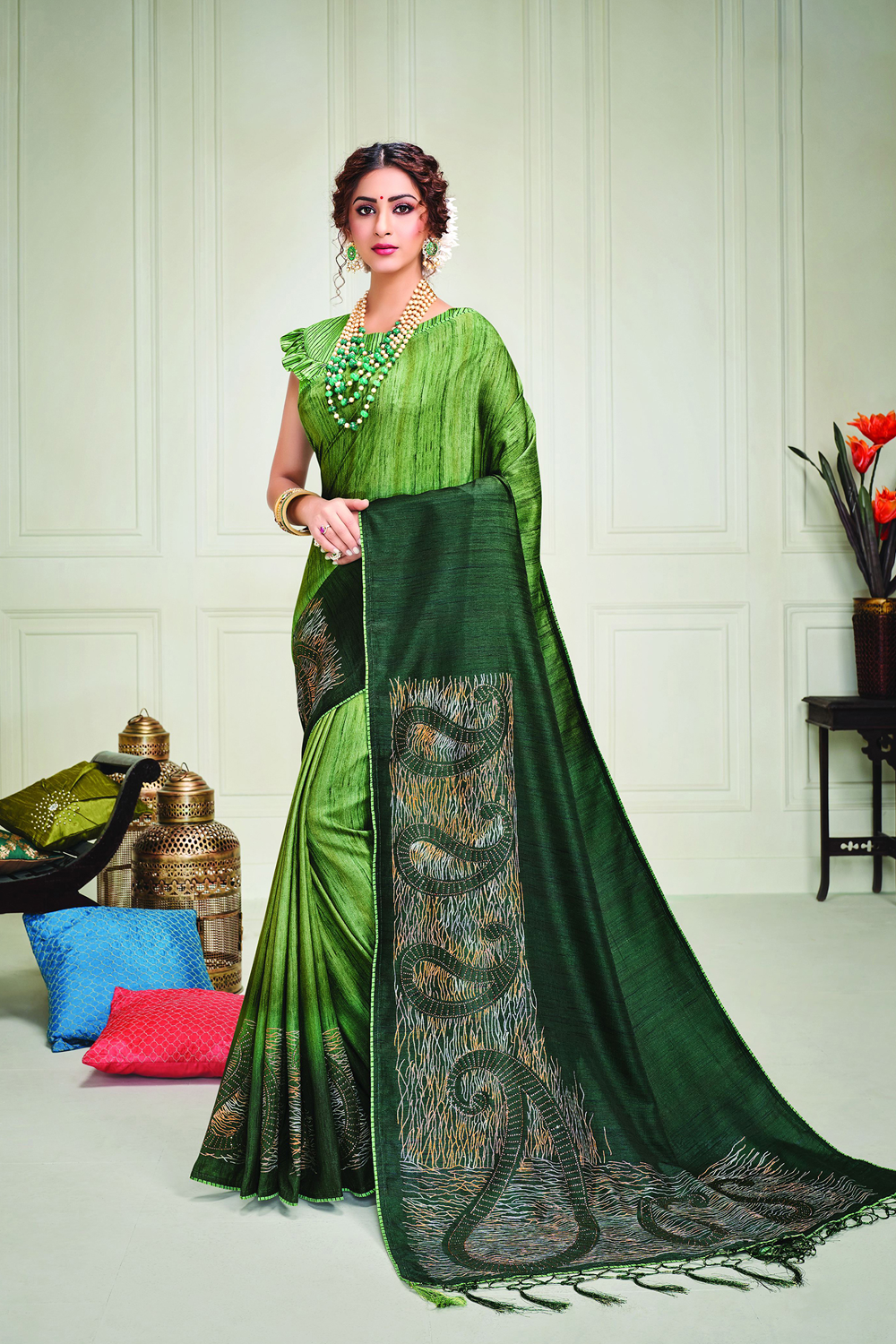 Envelope yourself in the brilliance of fresh green hues bedecked with paisley metallic foil details and define indian beauty like never before  Pair with meenakari jewels to uplift the look