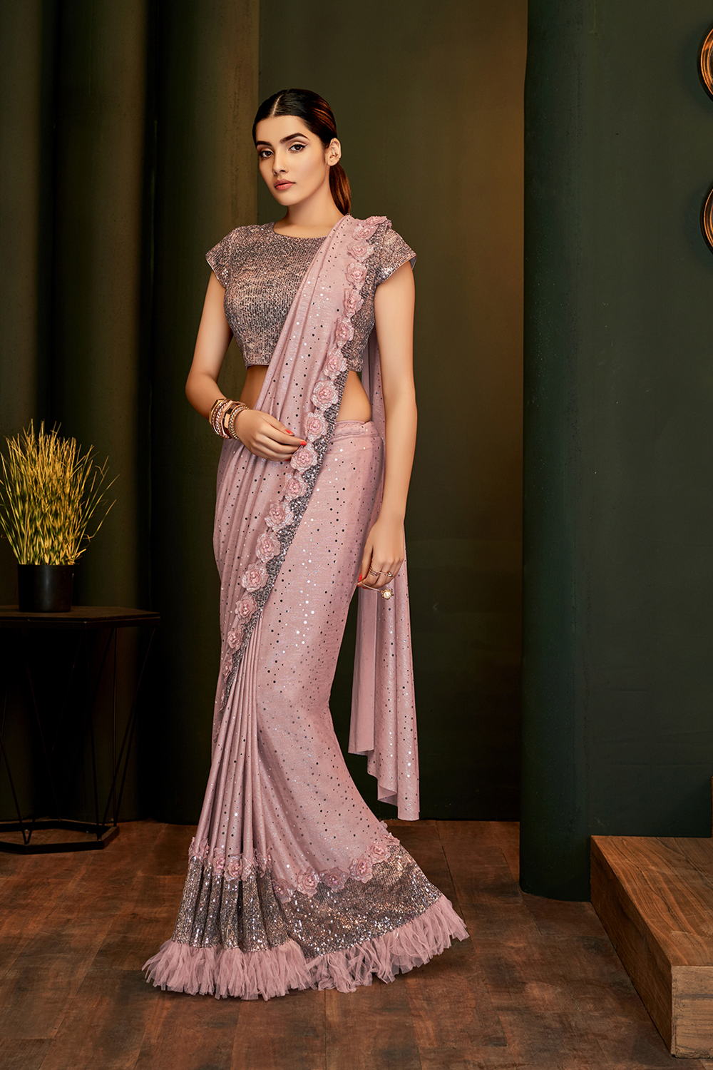 Shimmery and pretty pink ready-to wear saree