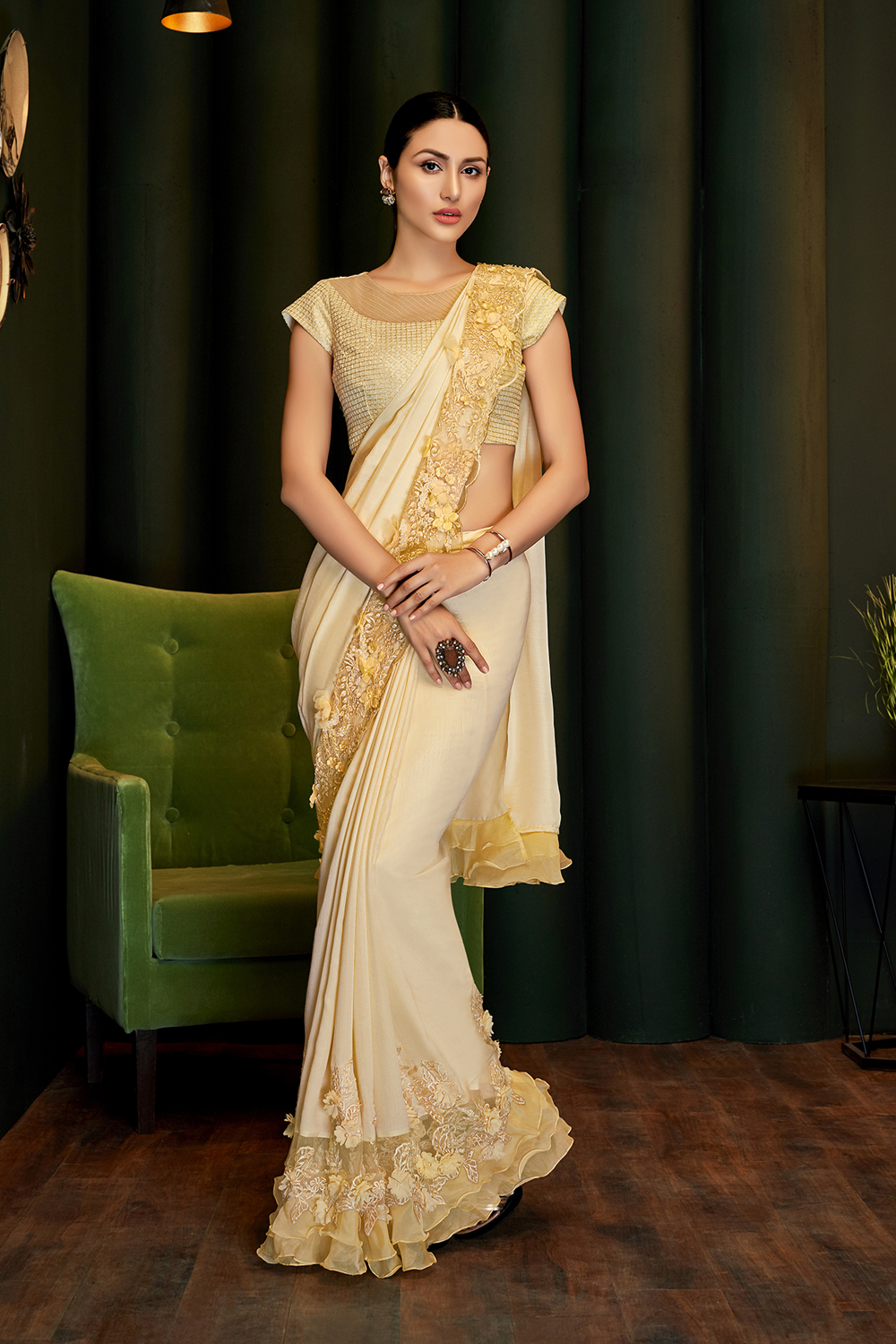 Yellow saree with 3d Applique flowers