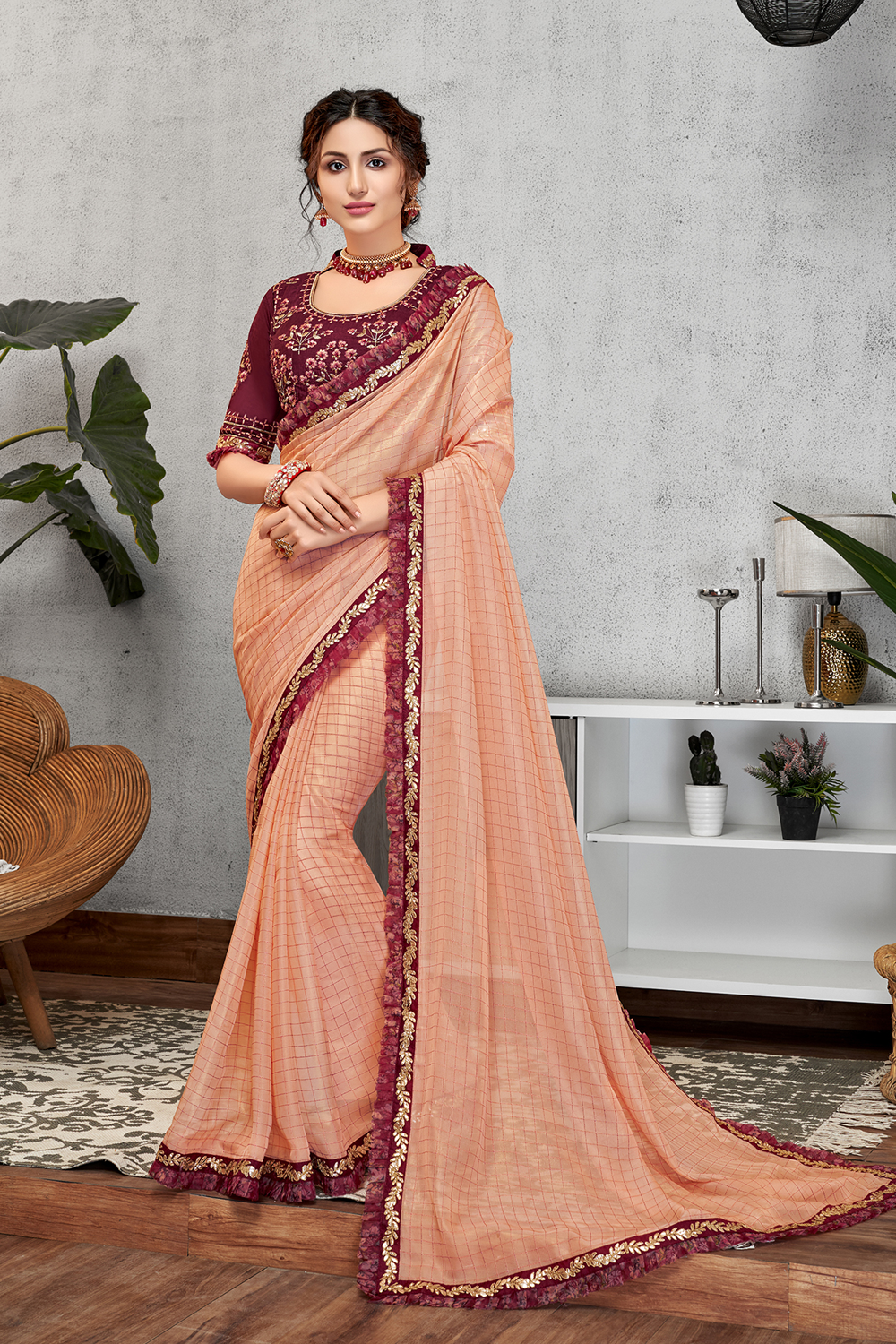 Blending the new-age colors with classic style  frilly pastel saree