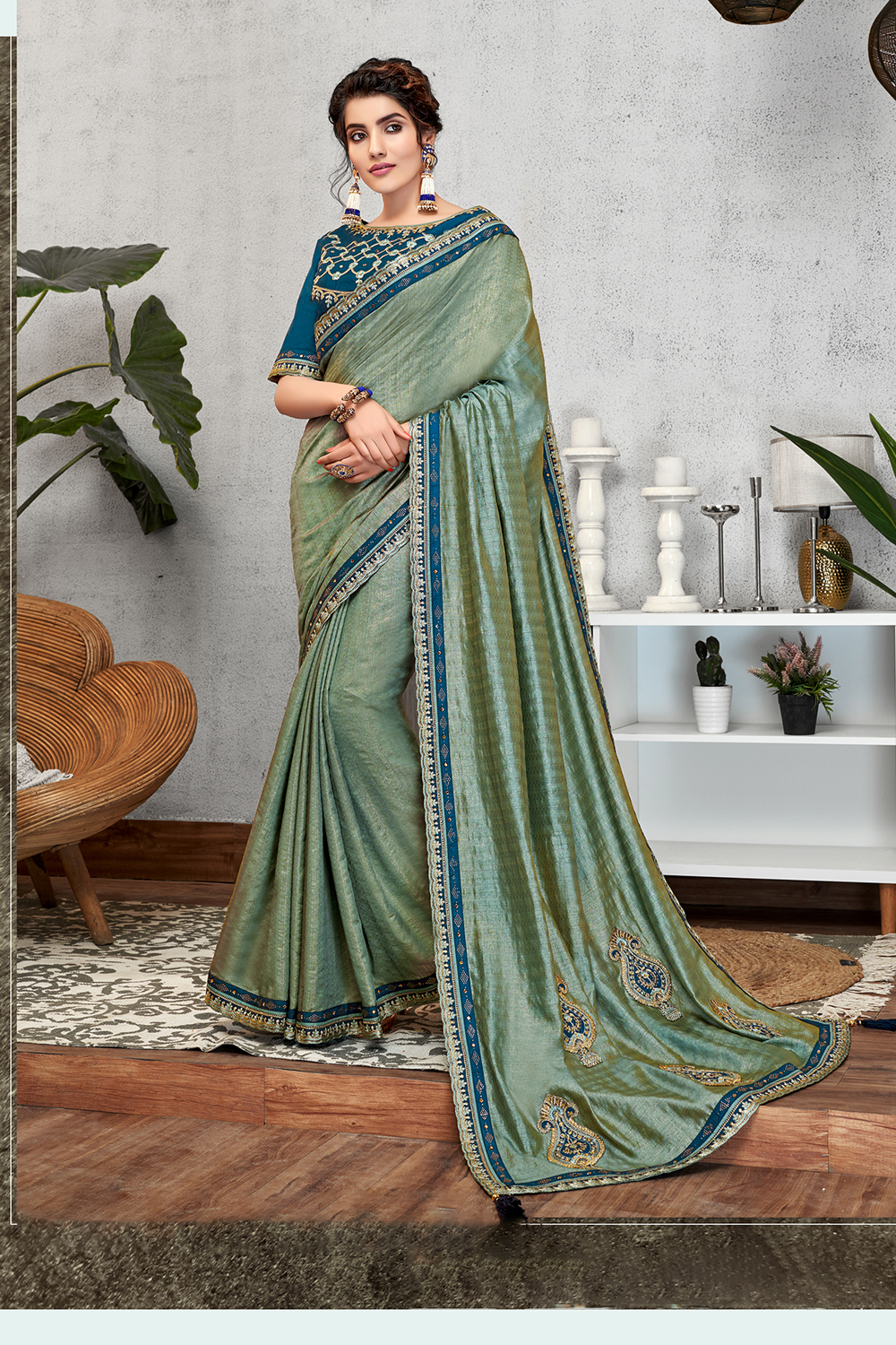 Dual tone silk saree with traditional details