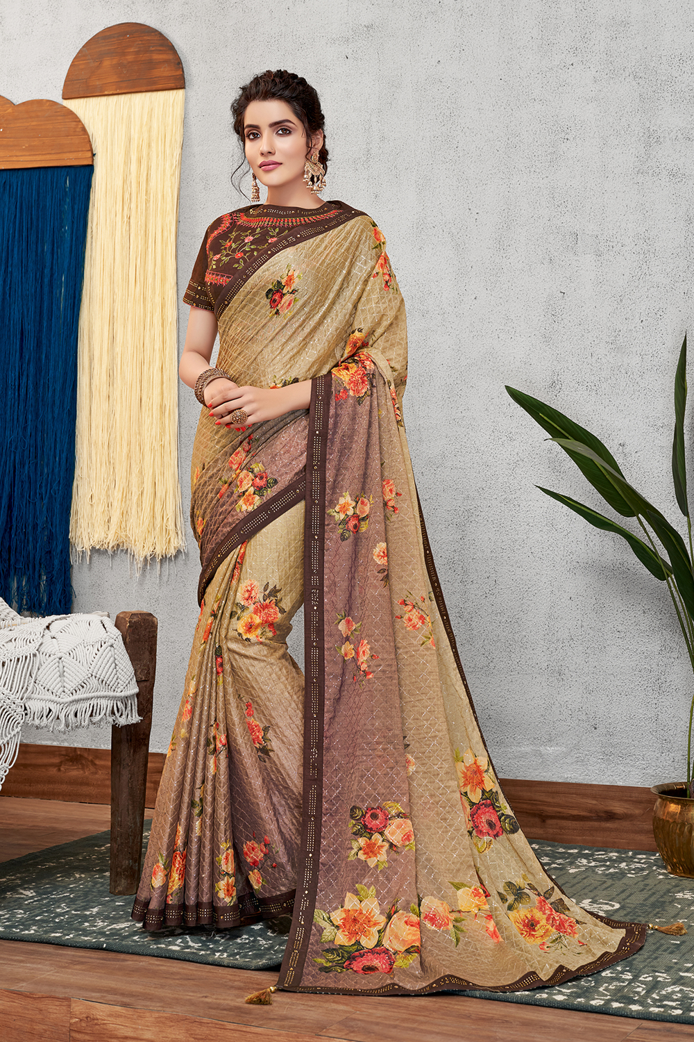 Floral prints and elegance of earthy hues outstanding sequinned saree