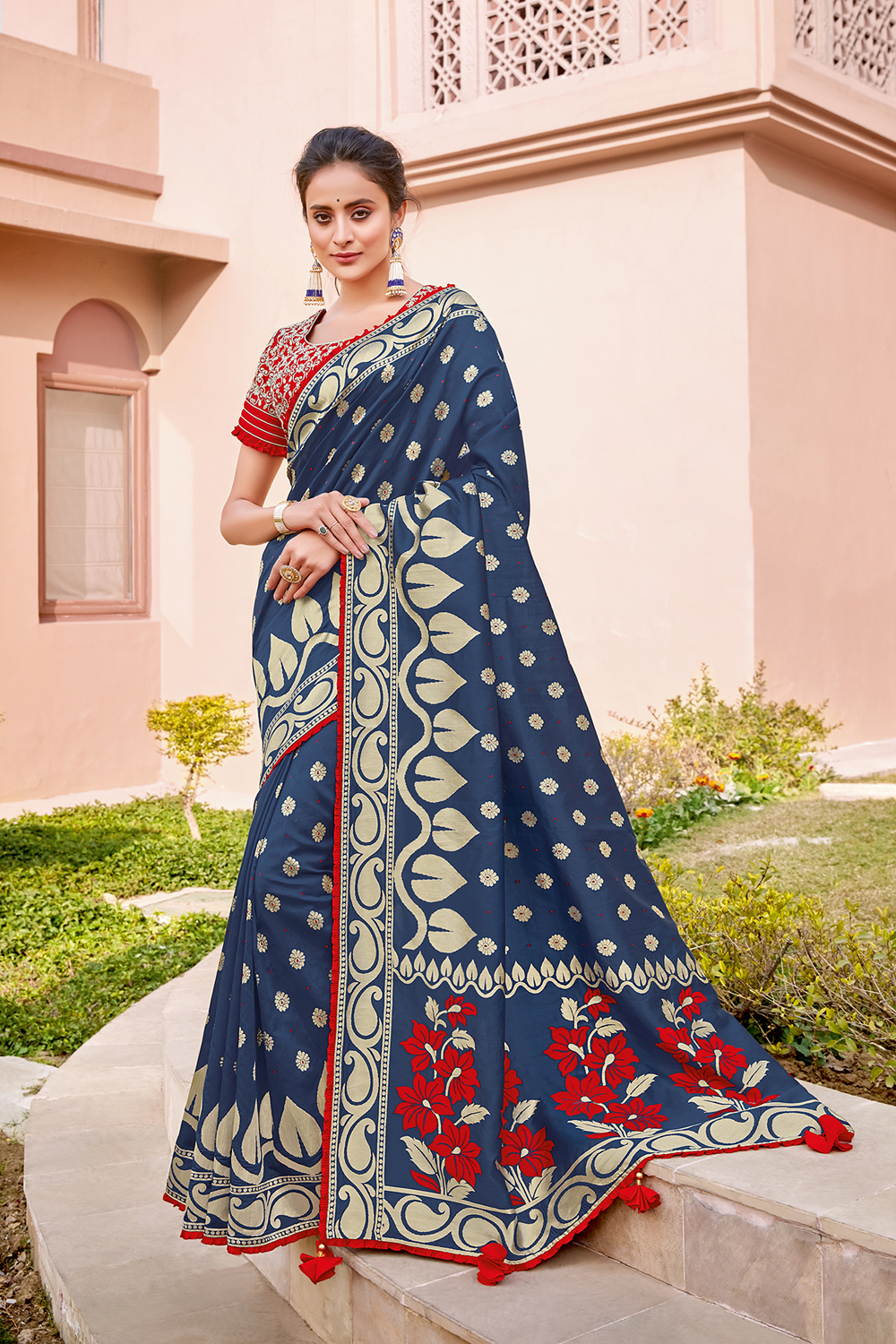 An artistic take on traditional silk saree royal blue and red