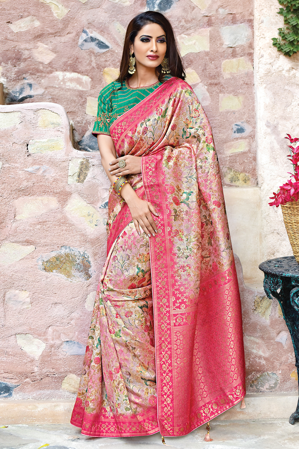 silk saree with ornate floral prints  flourishing colors and immaculate detail