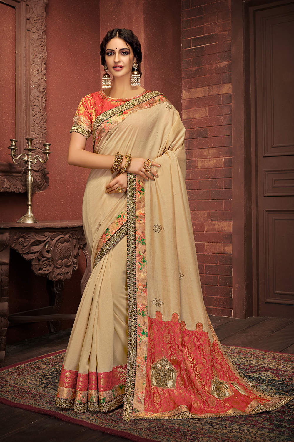 Rhytmic vibes saree enhanced with a right touch of red