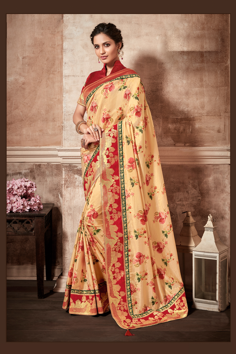 Floral printed saree with border