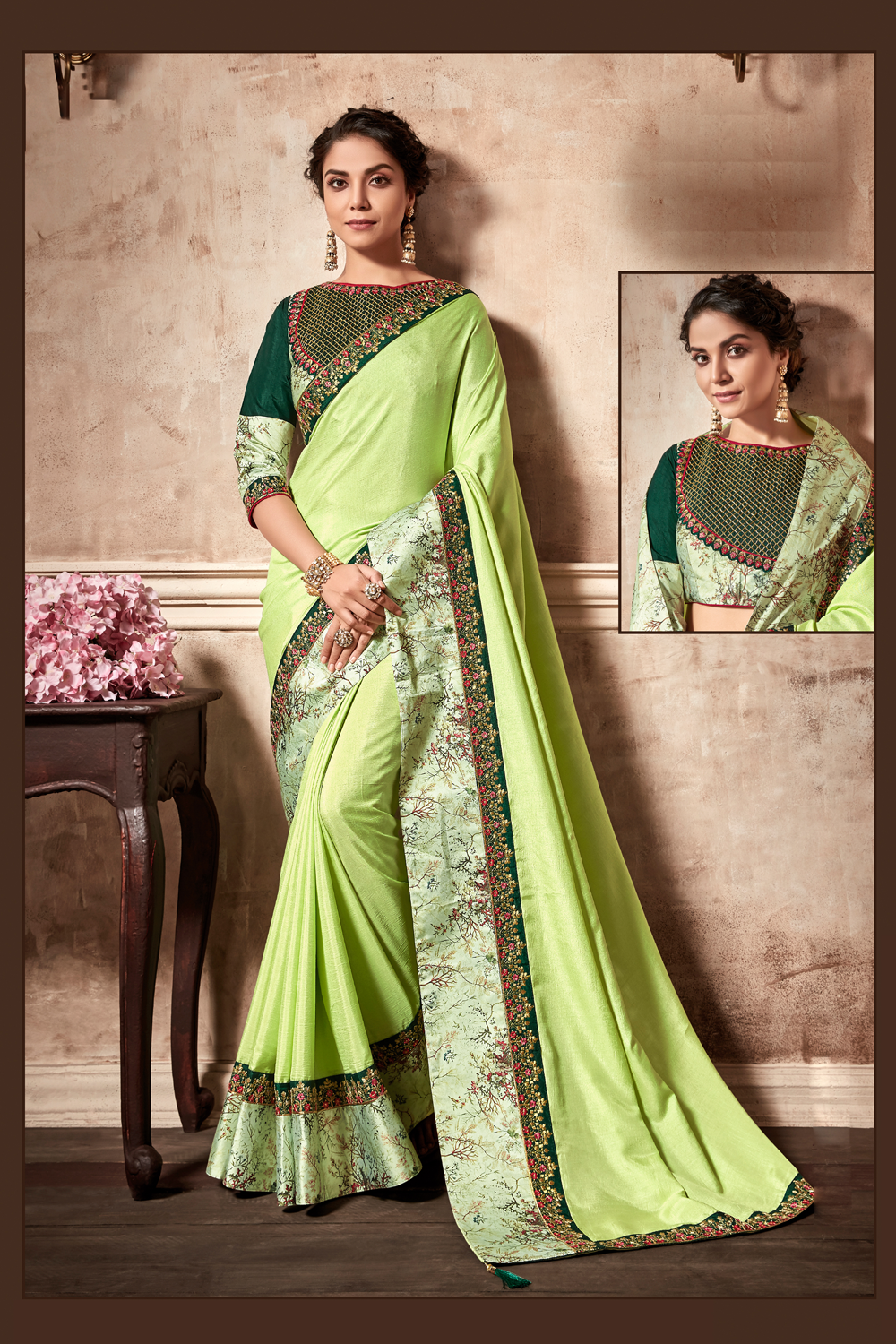 Hues of greens ornamented with delicate floral embroideries saree