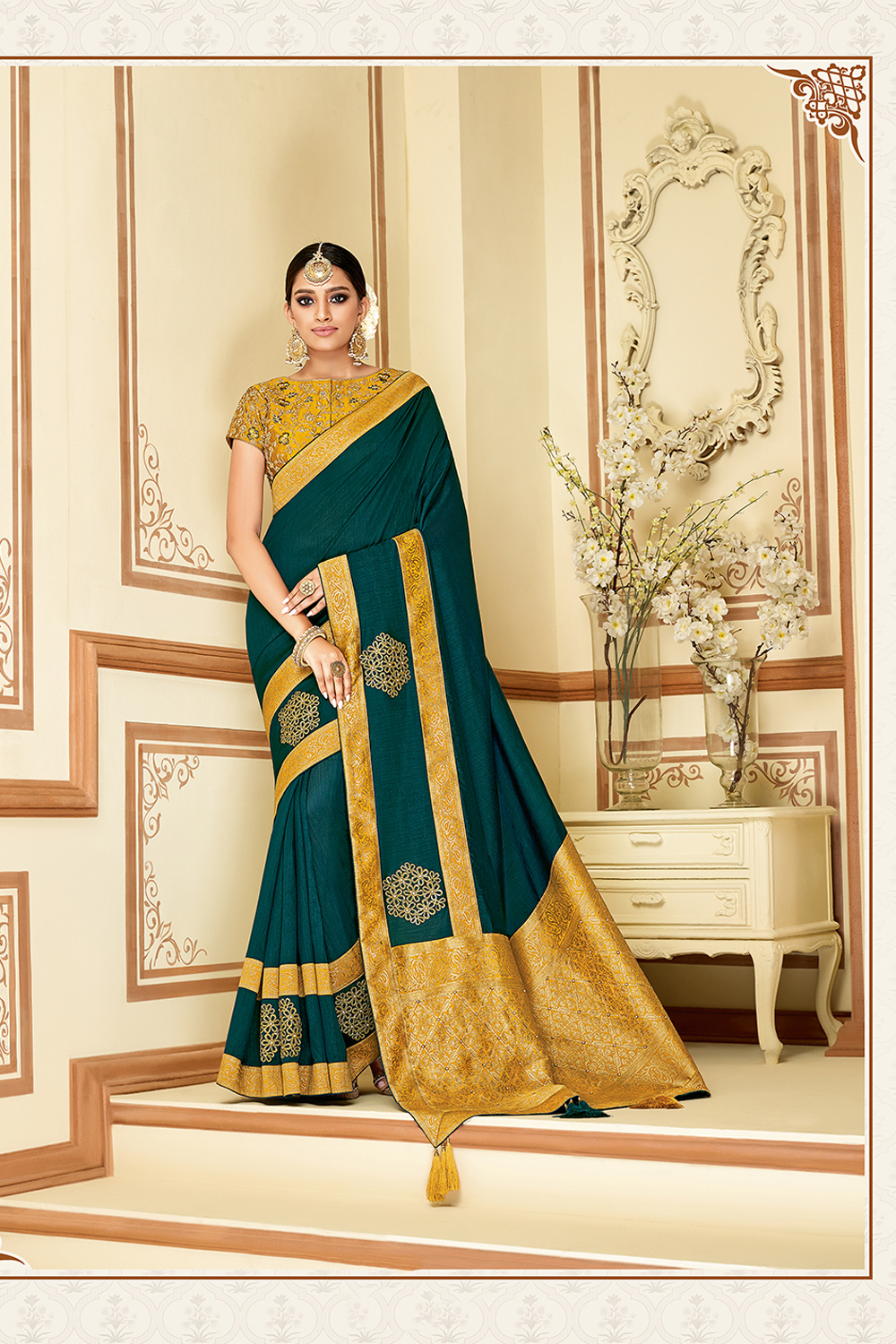 Floral embroideries and styled with laser-cut details saree