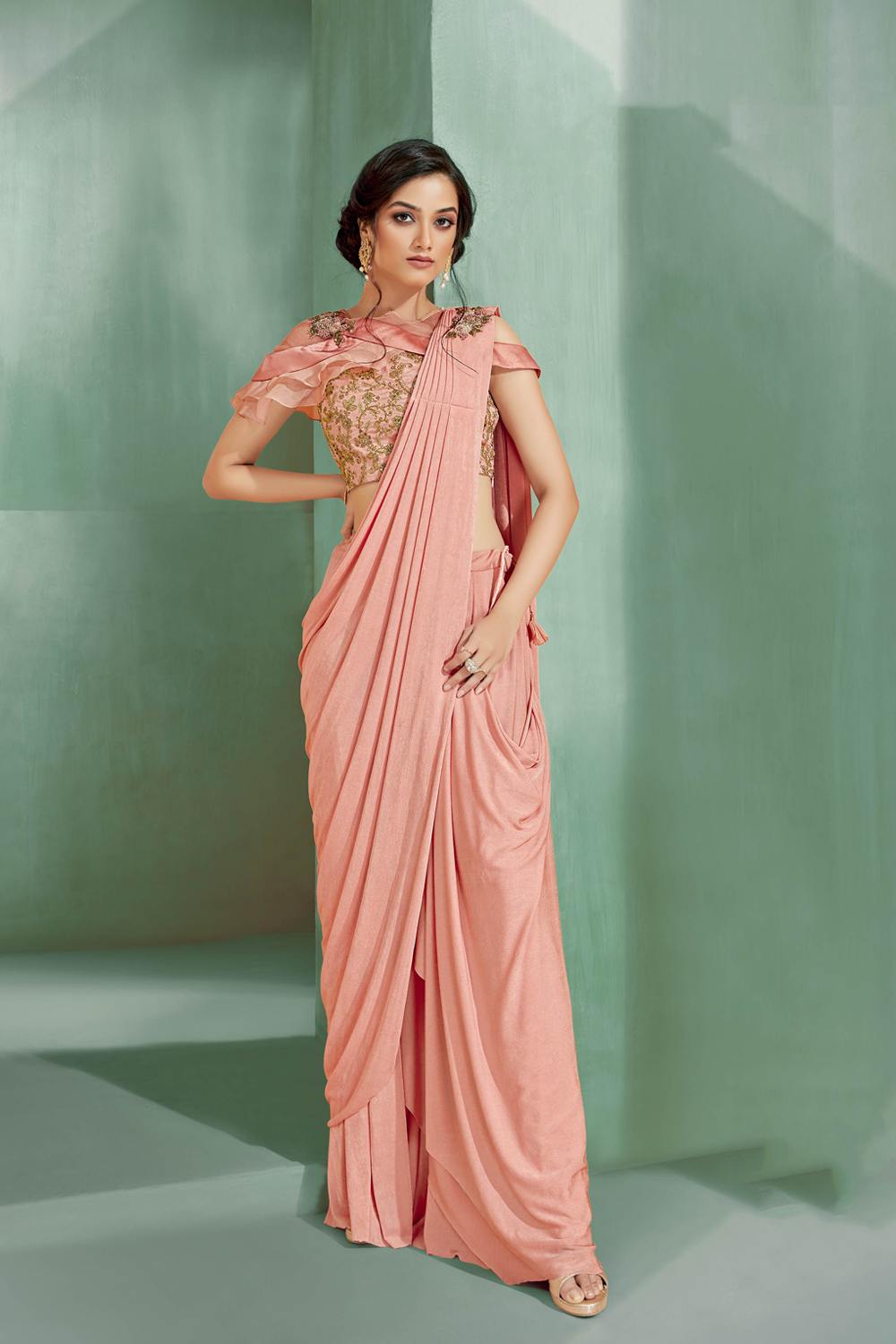Palazzo and ethnic style of saree