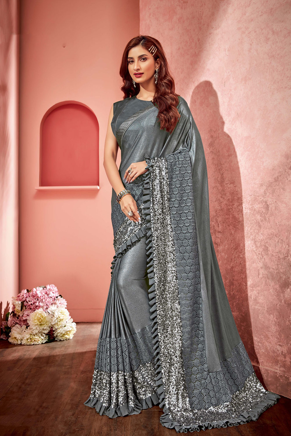 Sequins and thrill of frills saree
