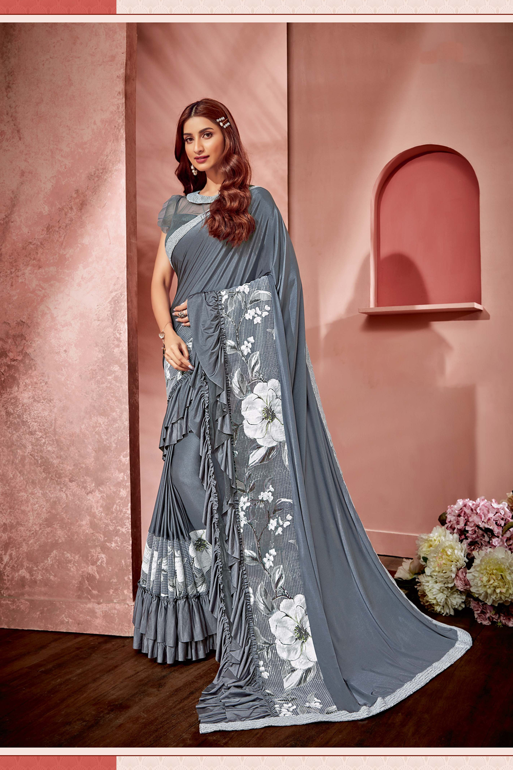 Flowers  ruffles and style saree