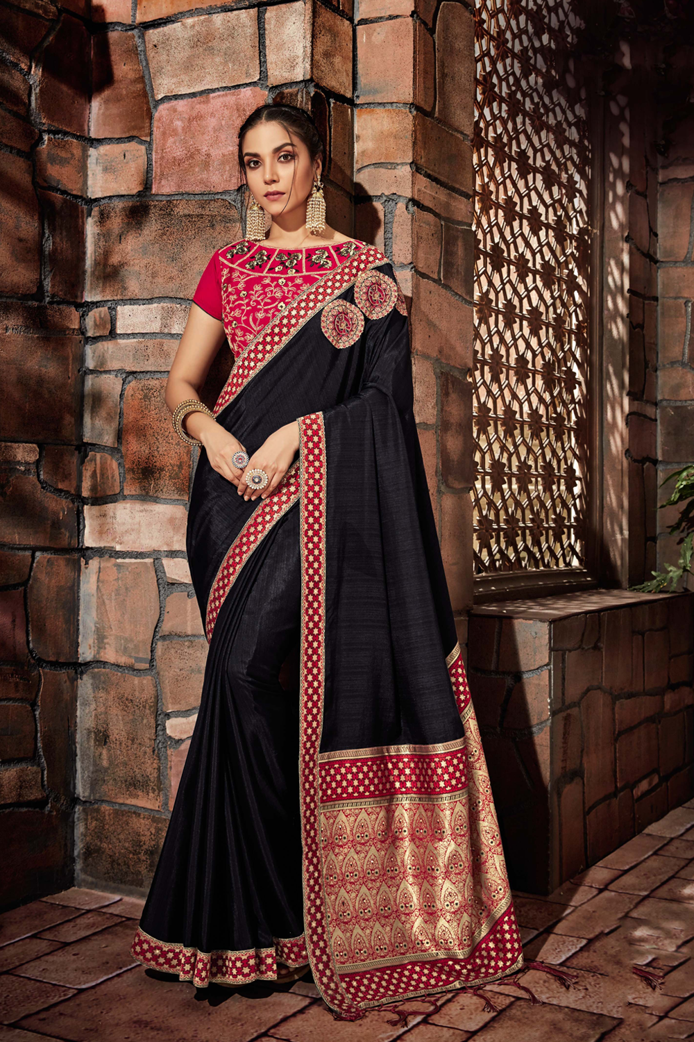 Black saree with geometrical and floral motifs