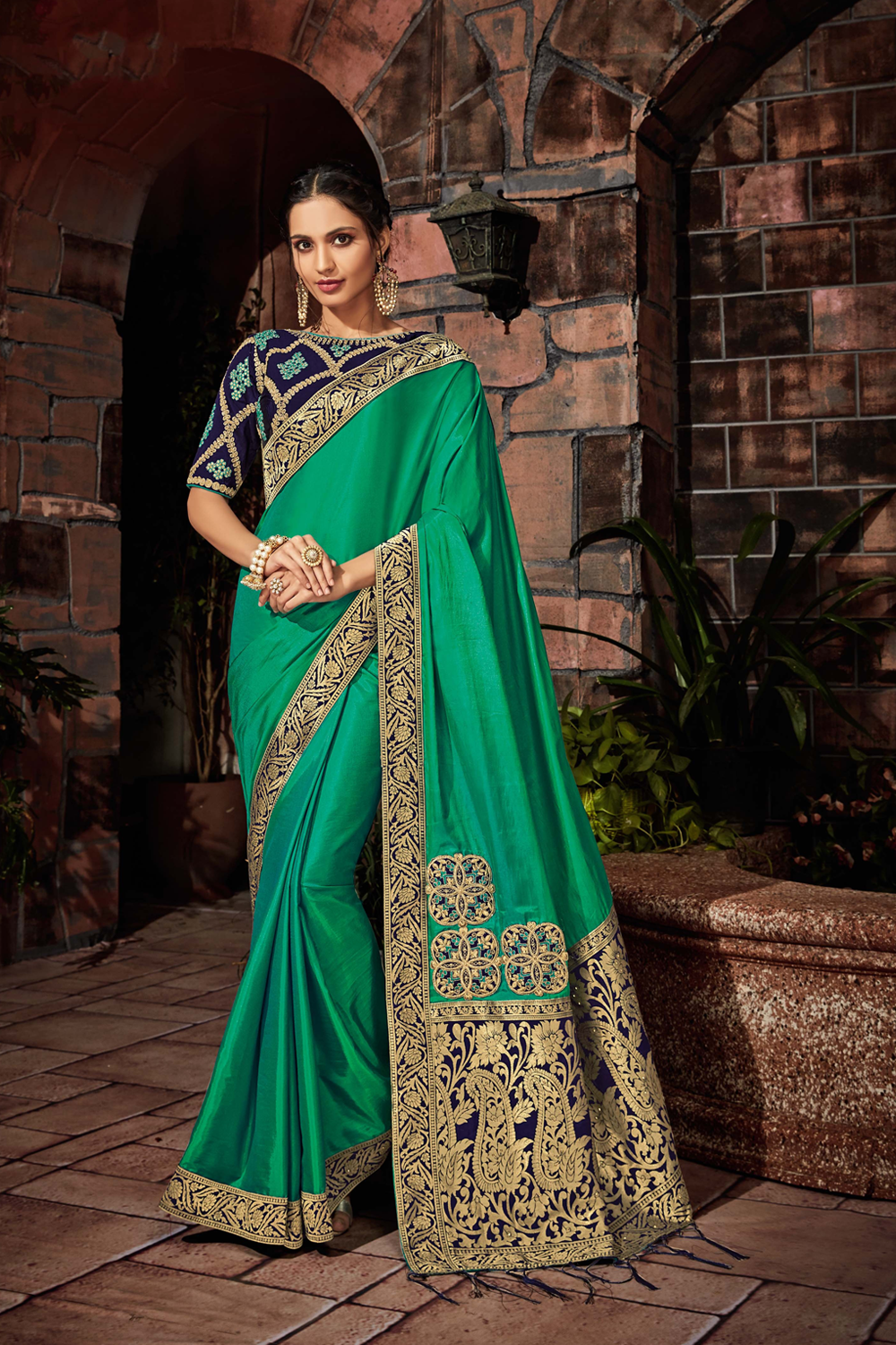 Multiple motifs - paisleys  geometry and floral saree