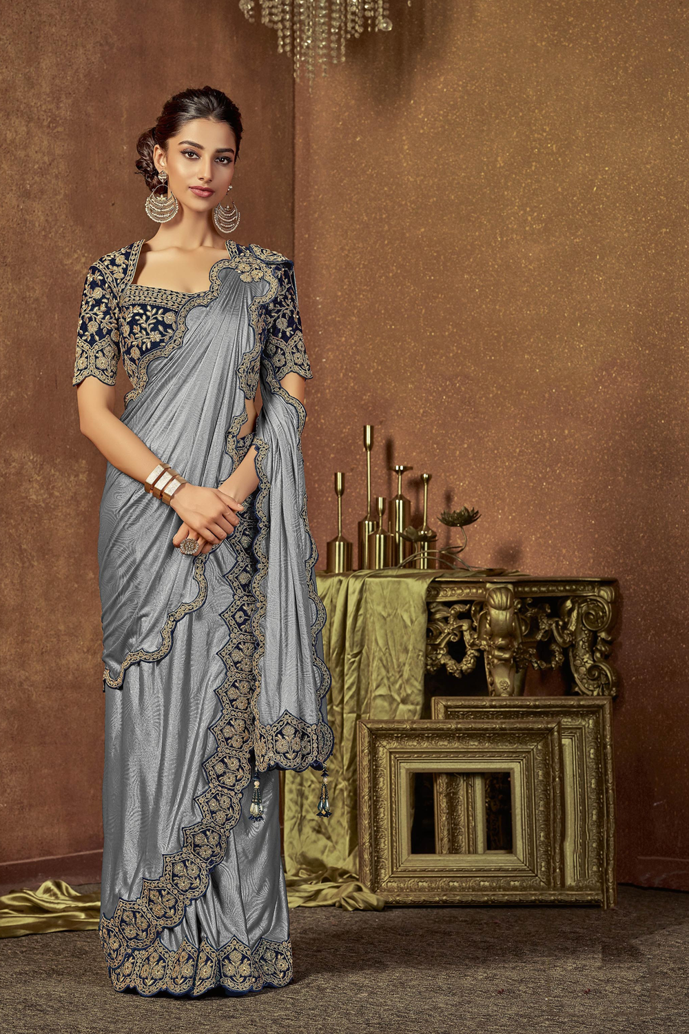 Pre-draped saree masterfully designed with chic cuts