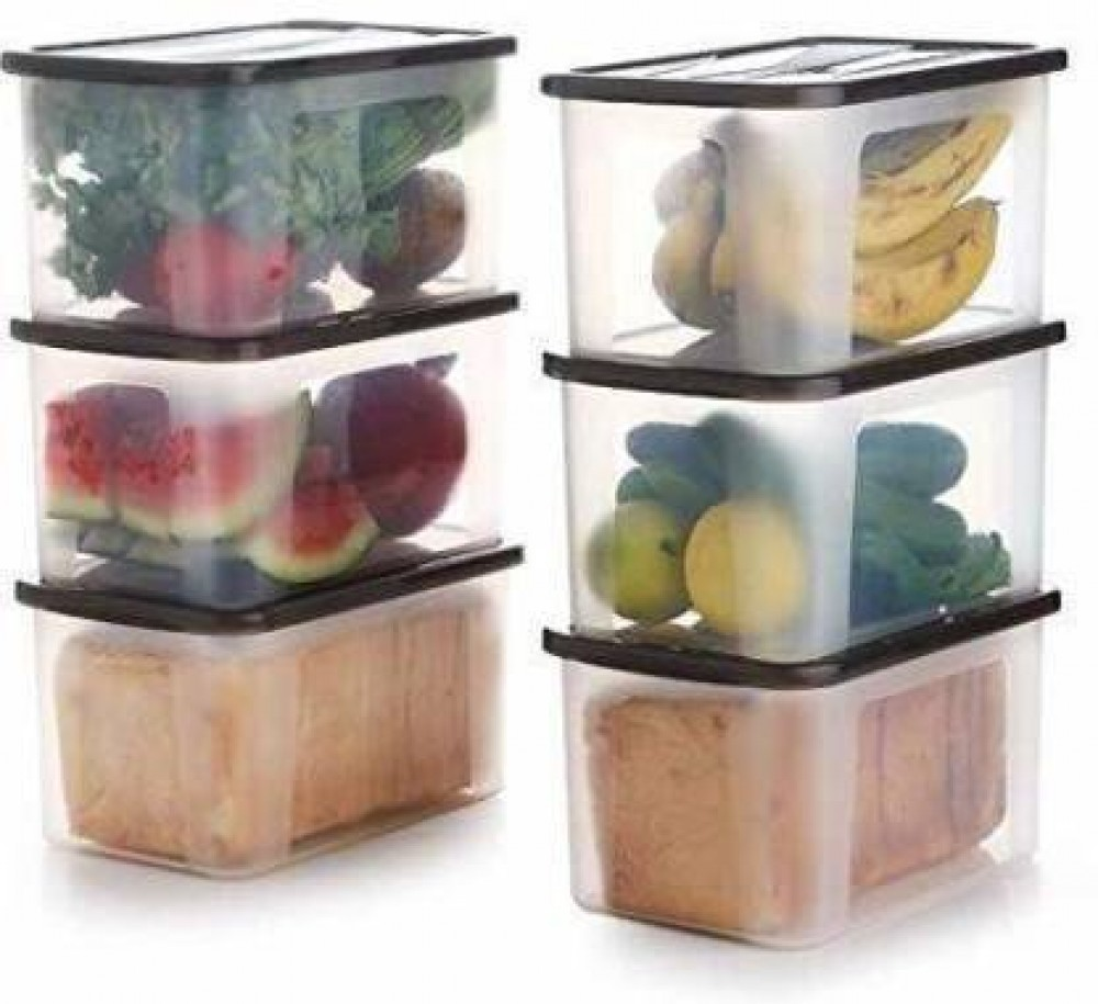VTTRADE Food Grade Plastic Container With Lid - 2000 ml Plastic Bread Container  (Pack of 6, Brown, Clear)