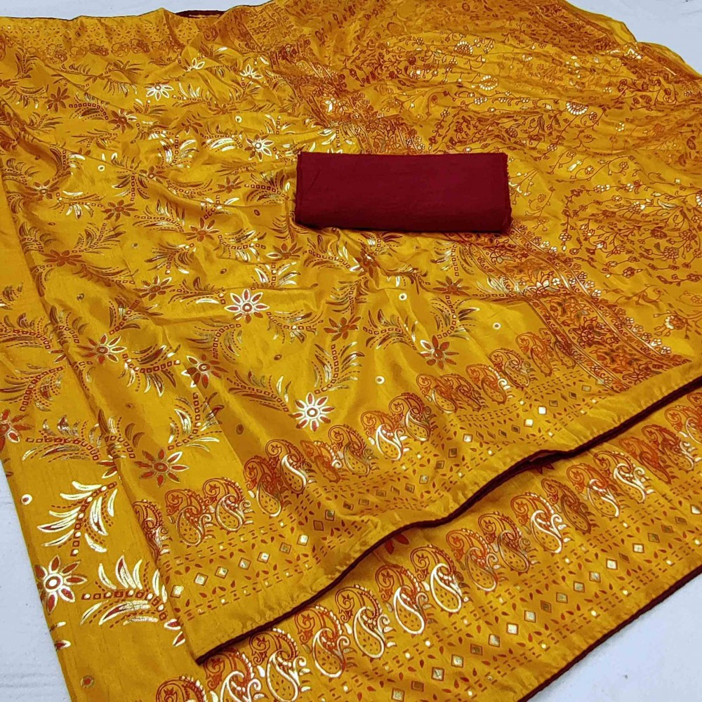 Trendy Store Women s Heavy Printed Saree with Foli Work Comes with contrast Bangalore silk blouse