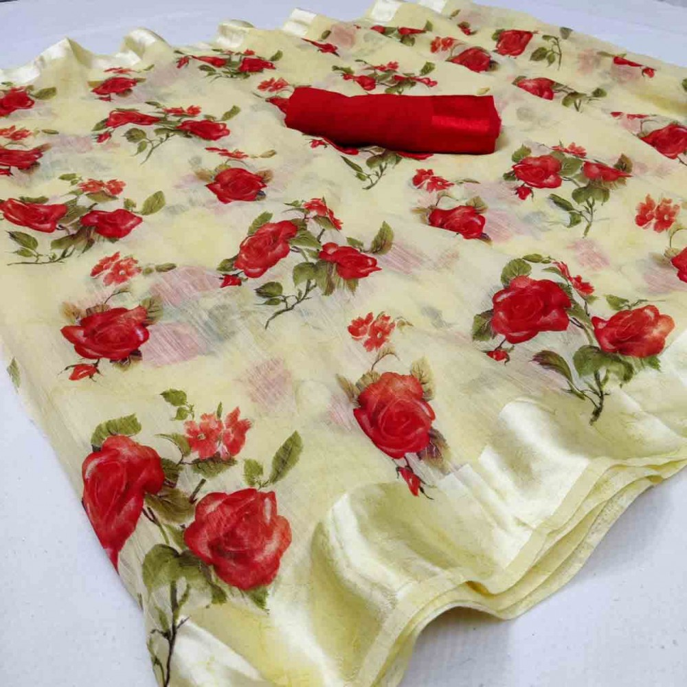 Trendy Store Women s Border Soft  Satin Saree with running Blouse