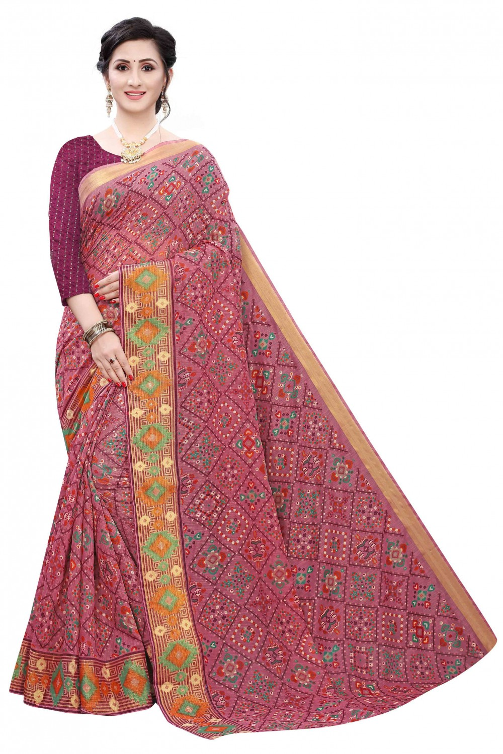 Trendy Store Women s beautiful print and foil work saree with jacquard blouse