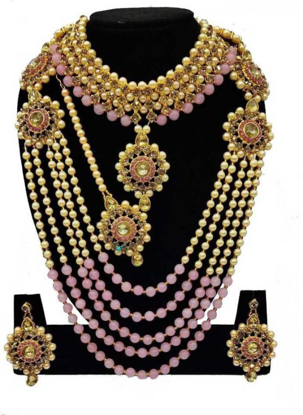 Alloy Gold-plated Jewel Set  (Pink, Gold)