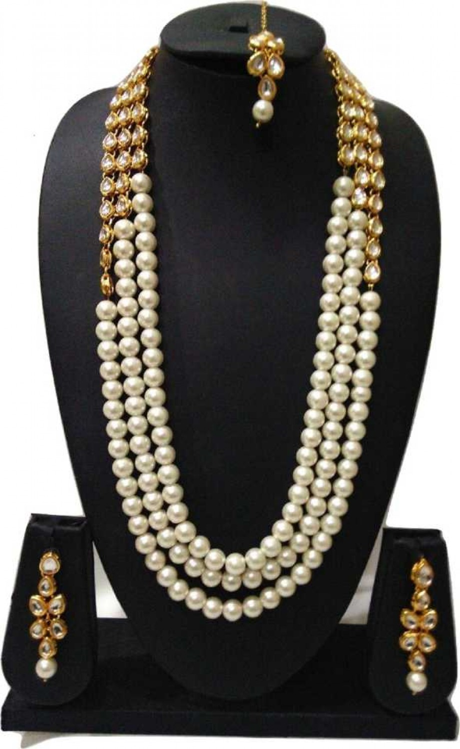 Mother of Pearl Jewel Set  (White, Gold)