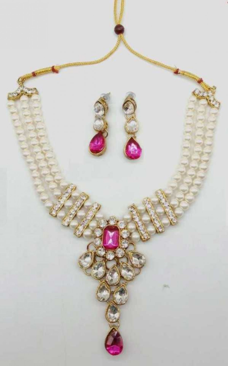 Alloy Gold-plated Jewel Set  (Pink)
