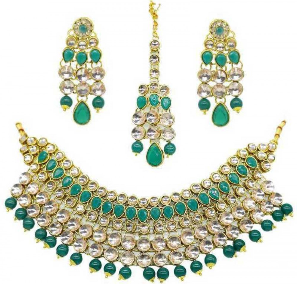 catalyst venture  Alloy Gold-plated Jewel Set  (Green, Silver)