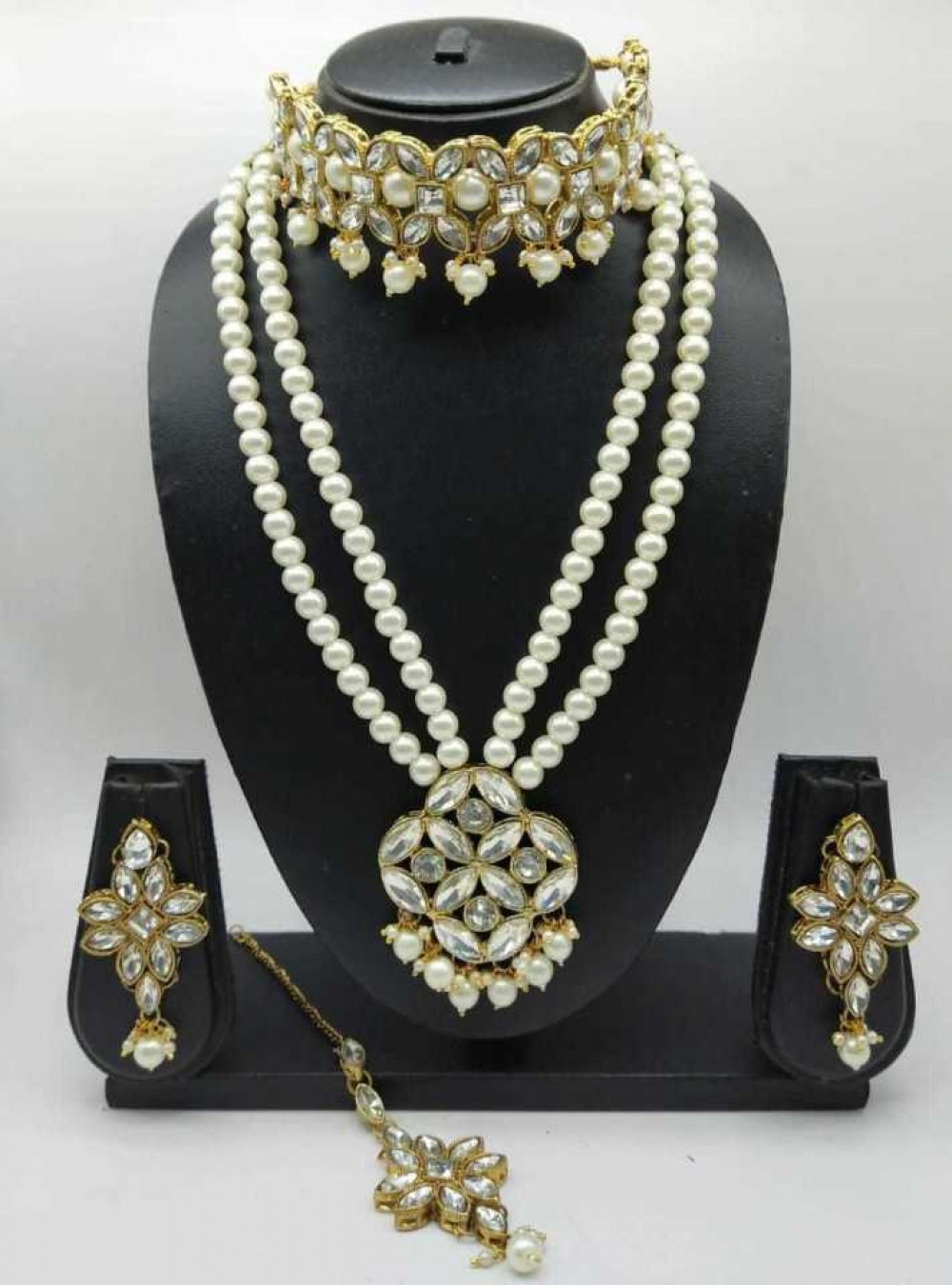 catalyst venture  Copper Gold-plated Jewel Set  (White, Gold)