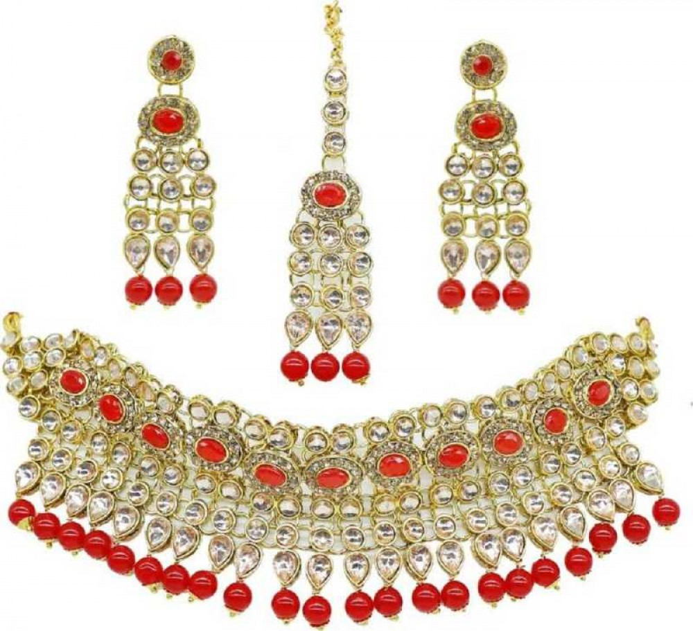 catalyst venture  Alloy Gold-plated Jewel Set  (Red, Silver)
