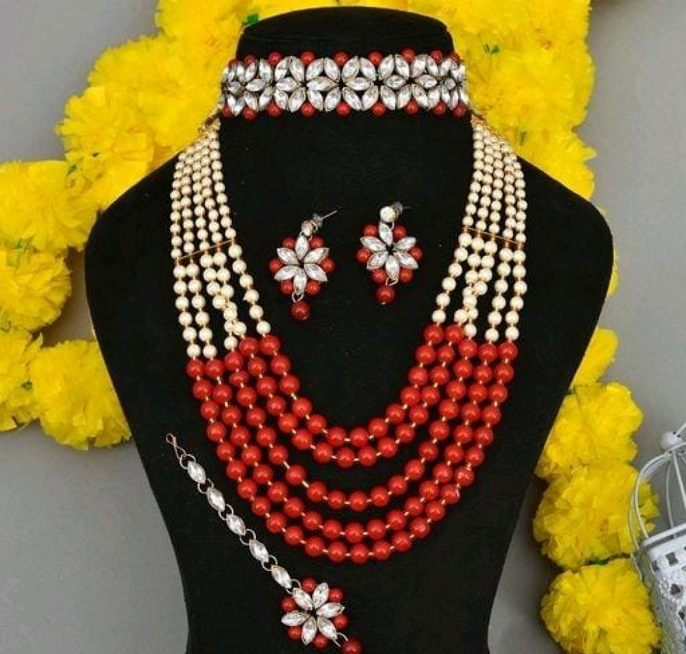 Shimmering Graceful Jewellery Sets red with choker