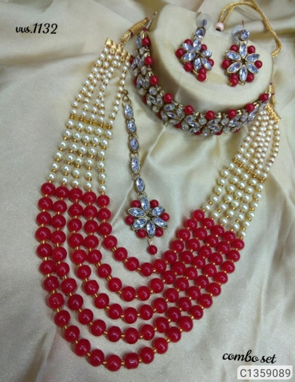 Shimmering Graceful Jewellery Sets tomato red which choker