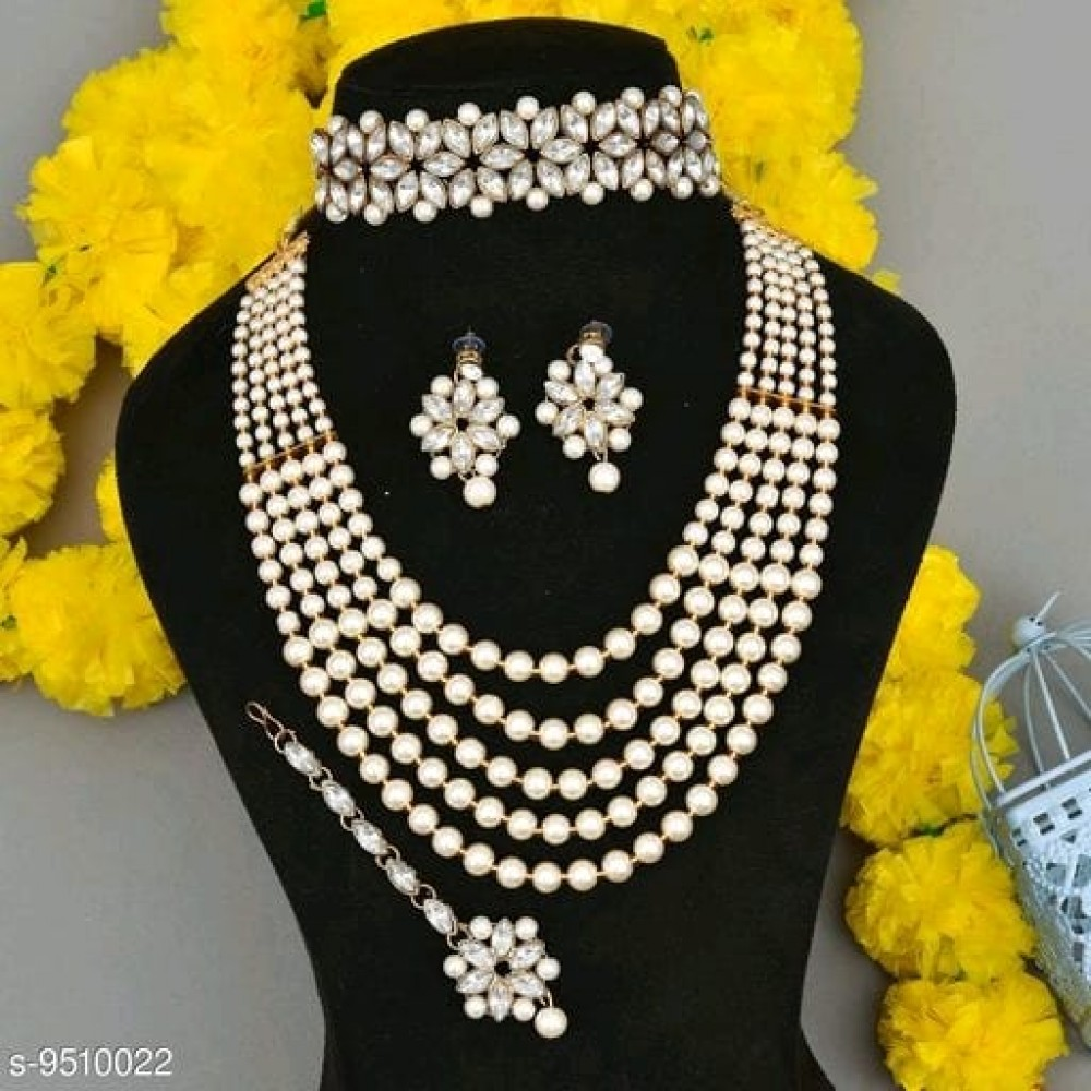 Shimmering Graceful Jewellery Sets white with choker