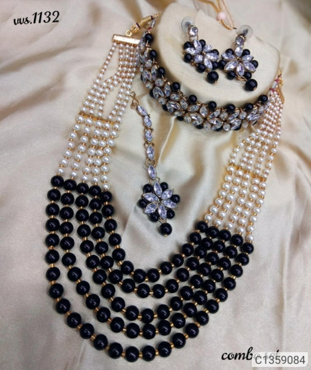 Shimmering Graceful Jewellery Sets BLACK WHICH CHOKER