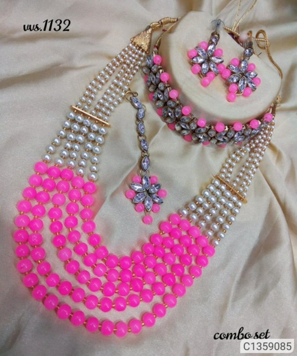Shimmering Graceful Jewellery Sets LIGHT PINK which choker