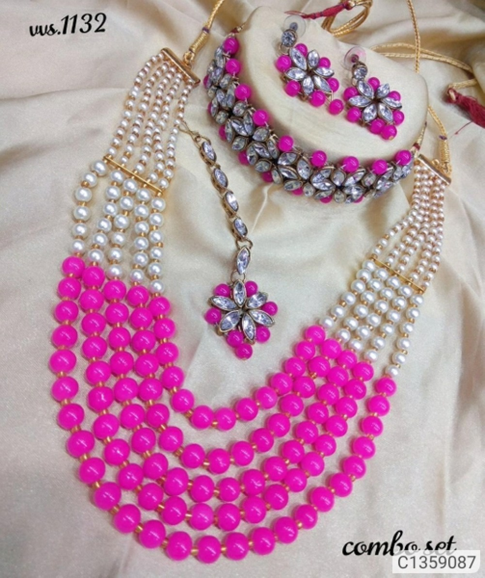 Shimmering Graceful Jewellery Sets DARK PINK WHICH CHOKER